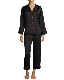 Cloisonne Floral-Jacquard Long-Sleeve Pajama Set