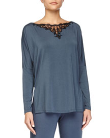 Primula Lace-Trim Long-Sleeve Lounge Tee, Light Blue