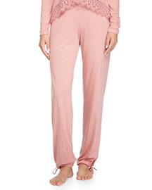 Edith Lace-Trim Lounge Pants