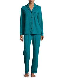 Bella Textured Jersey Pajama Set, Blue Curacao