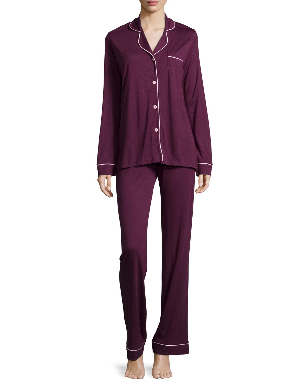 Cosabella Bella Contrast-Trim Long-Sleeve Pajama Set, Size: S, Dragon Fruit