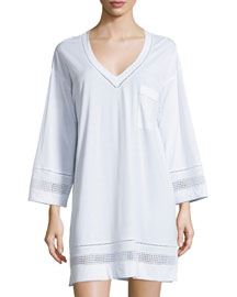 Spa Long-Sleeve V-Neck Sleepshirt, White