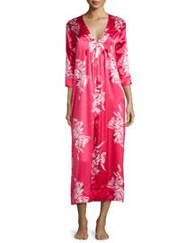 Spanish Lily Printed V-Neck Caftan, Pink
