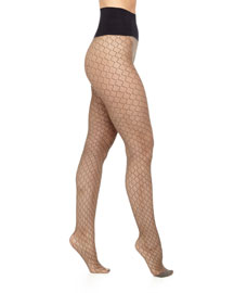 Wild Card Net Tights, Black/Nude