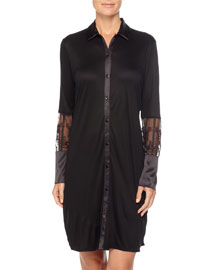 Floralia Long-Sleeve Sleepshirt W/Lace Detail, Black