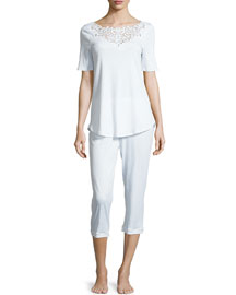 Isabeau Cropped Short-Sleeve Pajama Set, White