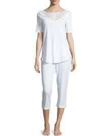 Isabeau Cropped Short-Sleeve Pajama Set, White