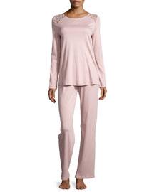 Clotilde Lace-Shoulder Long-Sleeve Pajama Set, Rose Dust