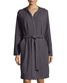 Danielle Hooded French Terry Robe, Charcoal
