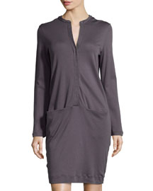 Clarisse Long-Sleeve Gown, Charcoal