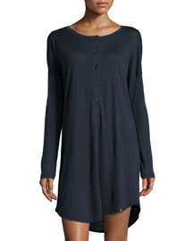 Margot Cashmere-Blend Henley Sleepshirt, Midnight