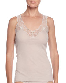Valencia Lace-Strap Tank Top, Coffee Cream