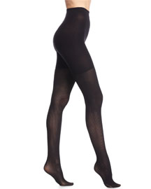 Ribbed Sheer Tights, Black