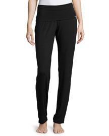 Yoga Basic Straight-Leg Pants, Black