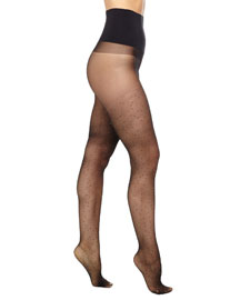Tinsel-Dot Sheer Tights, Black/Gold