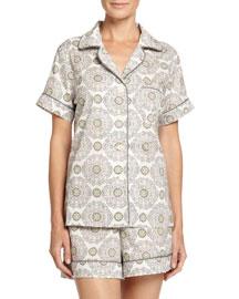 Medallion Shorty Pajama Set, Cream/Pink