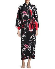 Lana Floral-Print Long Wrap Robe, Black Multi