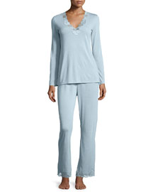Zen Floral-Trim Pajama Set