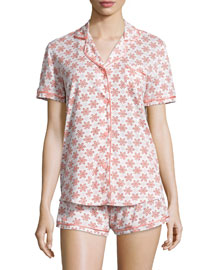 Bella Snowflake-Print Jersey Pajama Set