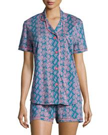 Bella Snake-Print Shorty Pajama Set, Blue/Pink