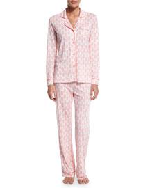 Bella Brocade-Print Pajama Set, White/Pink