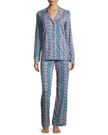 Bella Snake-Print Long Pajama Set, Blue/Pink