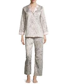 Brushed-Back Satin Paisley-Print Long-Sleeve Pajama Set, Pink Paisley