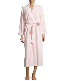 Textured Tonal-Stripe Plush Long Robe