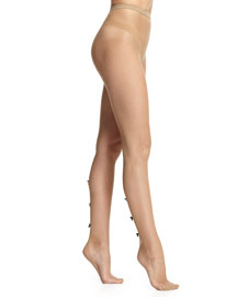 Fishnet Sheer Tights W/Bow Detail, Nude/Black