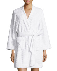 Embossed-Terry Short Wrap Robe, Signature White