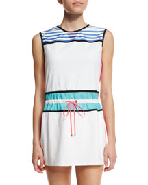Sleeveless Drawstring-Waist Signature Sport Dress, White