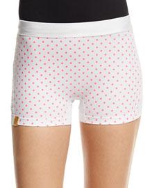Booty Boost Dot-Print Sport Shorts, White/Neon Pink