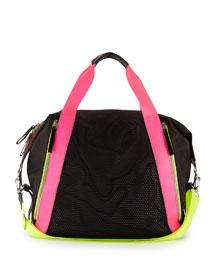 Champ Multicolor Mesh Gym Bag, Black