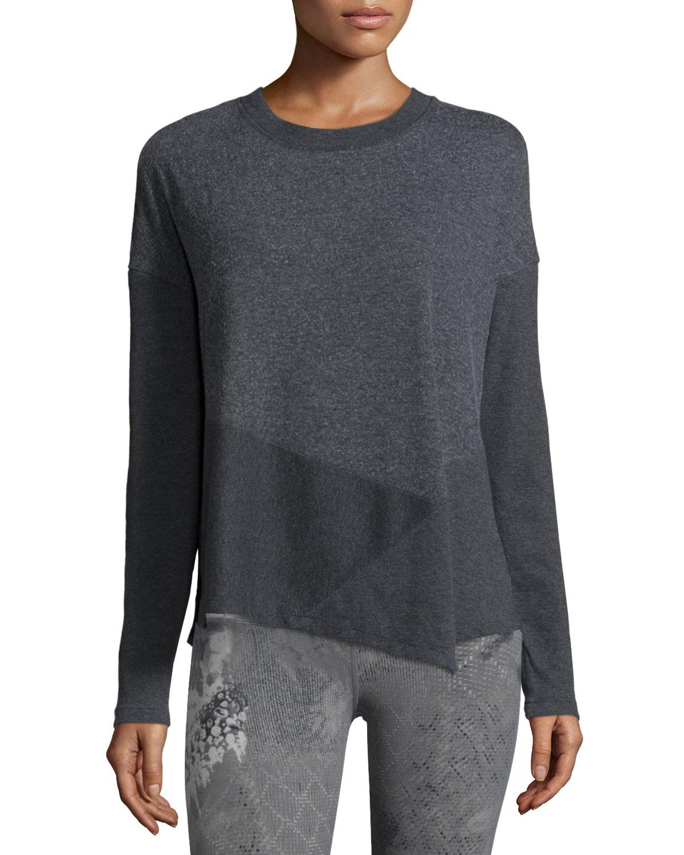 Alo Yoga Lean Long-Sleeve Sport Top, Size: XS, Black (Charcoal Heather)