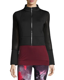Shell Mesh-Sleeve Cropped Sport Bomber Jacket, Black