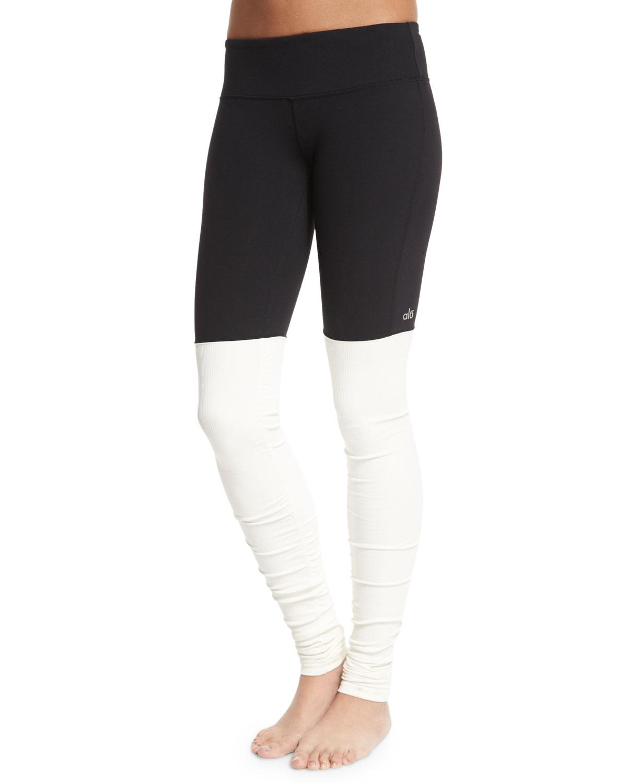 Alo Yoga Goddess Colorblock Ribbed Sport Leggings, Size: XX-SMALL, Black/Natural