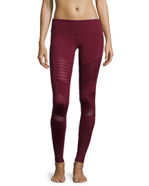 Moto-Style Stretch Sport Leggings, Deep Plum