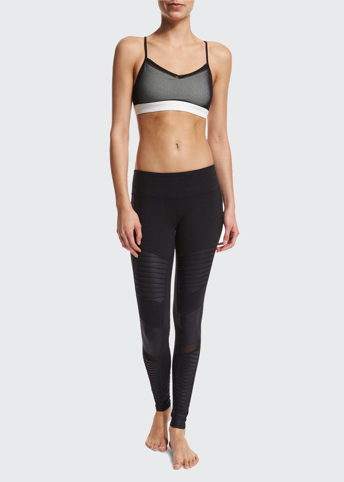 Alo Yoga Moto Full-Length Sport Leggings, Black, Size: XS, Black/Blk Glossy