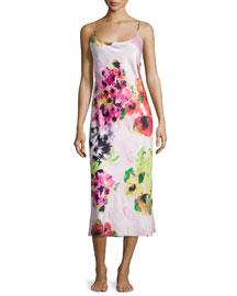 Waterspring Floral-Print Jersey Gown, Pink Multi