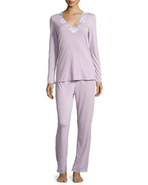 Zen Two-Piece Pajama Set with Floral Lace, Light Lilac