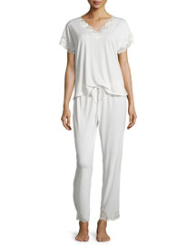 Zen Short-Sleeve Pajama Set with Floral-Lace, Ivory