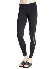 Diagonal Sport Leggings W/Mesh Inset, Black