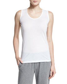 Sleeveless Scoop-Neck Tee, White