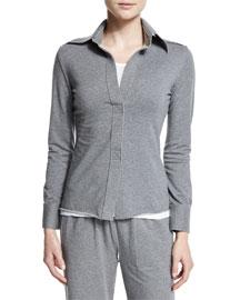 Long-Sleeve Collared Shirt, Light Gray