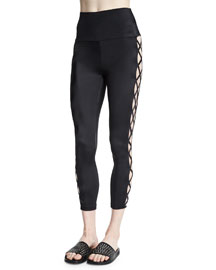 Crisscross-Side Cropped Sport Leggings, Black
