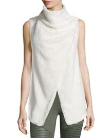 Cozy-Up Draped Sport Vest, Natural