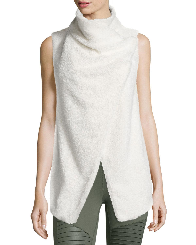 Alo Yoga Cozy Up Draped Sport Vest, Natural, Size: L