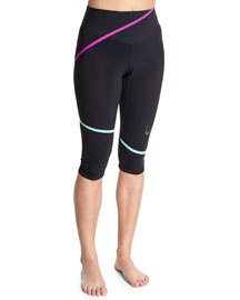 Lazer Stripe Capri Sport Leggings, Black