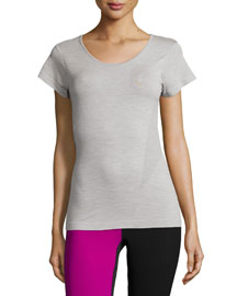 Short-Sleeve Round-Neck Sport T-Shirt, Gray Marl