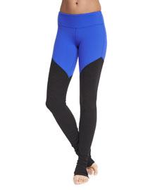 Goddess 2 Colorblock Ribbed Sport Leggings, Electric Blue/Black
